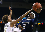 18 February 2016: Notre Dame's Arike Ogunbowale (2) shoots around Wake Forest's Ariel Stephenson (25). The Wake Forest University Demon Deacons hosted the University of Notre Dame Fighting Irish at Lawrence Joel Veterans Memorial Coliseum in Winston-Salem, North Carolina in a 2015-16 NCAA Division I Women's Basketball game. Notre Dame won the game 86-52.