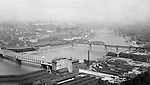 Pittsburgh PA - View of the PL&E Railroad Building and yard, Smithfield Street Bridge, Monongahela Railroad Bridge and Mon warehouses from Mount Washington - 1905.