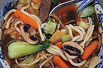 Japanese Udon Noodle soup with, beef, bean sprouts, onions, carrots, Bok Choy, green cabbage, mushrooms and green pepper ©2016. Jim Bryant Photo. All Rights Reserved
