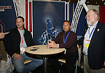 18 January 2008: Eric Wynalda (l), Boston Breakers head coach Tony DiCicco and National Soccer Hall of Fame communication's director Jack Huckel (r) at the Women's Professional Soccer exhibit. The 2008 National Soccer Coaches Association of America's annual convention was held at the Convention Center in Baltimore, Maryland.