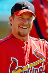 8 March 2006: Gary Bennett, catcher for the St. Louis Cardinals, jokes with former teammates during batting practice prior to a Spring Training game against the Washington Nationals. The Cardinals defeated the Nationals 7-4 in 10 innings at Space Coast Stadium, in Viera, Florida...Mandatory Photo Credit: Ed Wolfstein.