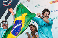 BRAZIL, Itajai. 6th April 2012. Volvo Ocean Race. Brazilian yachtsman Joao Joca Signorini, Watch Leader, Team Telefonica.