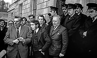 Democratic Unionist Party leader Ian Paisley speaks to members of the media after he and 17 other loyalist politicians were ejected by police for disrupting Assembly proceedings. 22nd January 1974. 197401220035a<br />