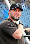 9 July 2011: Colorado Rockies first baseman Jason Giambi awaits his turn in the batting cage prior to a game against the Washington Nationals at Nationals Park in Washington, District of Columbia. The Rockies edged out the Nationals 2-1 to win the second game of their 3-game series. Mandatory Credit: Ed Wolfstein Photo