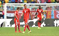 FUSSBALL WM 2014  VORRUNDE    GRUPPE E     Schweiz - Frankreich                   20.06.2014 Xherdan Shaqiri, Granit Xhaka und Johan Djourou (v.l., alle Schweiz) sind entaeuscht
