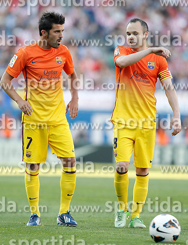 12.05.2013, Estadio Vicente Calderon, Madrid, ESP, Primera Division, Atletico Madrid vs FC Barcelona, 35. Runde, im Bild FC Barcelona's David Villa (l) and Andres Iniesta // during the Spanish Primera Division 35th round match between Club Atletico de Madrid and Barcelona FC at the Estadio Vicente Calderon, Madrid, Spain on 2013/05/12. EXPA Pictures © 2013, PhotoCredit: EXPA/ Alterphotos/ Acero..***** ATTENTION - OUT OF ESP and SUI *****