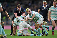 Don Stevens of Cambridge University passes the ball. The Varsity Match between Oxford University and Cambridge University on December 10, 2015 at Twickenham Stadium in London, England. Photo by: Patrick Khachfe / Onside Images