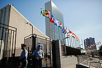 NEW YORK, USA - SEPT 14, Security officers stand guard  at United Nations Headquarters during preparations for the 71st General Assembly in New York on September 14, 2016. photo by VIEWpress