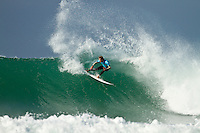 "JEFFREYS BAY, South Africa (Friday, July 16, 2010) - The Billabong Pro Jeffreys Bay is back on this morning with clean, consistent three-to-four foot (1.5 metre) waves racing down the point..Event No. 4 of 10 on the 2010 ASP World Tour, the Billabong Pro Jeffreys Bay will look to complete the remaining 14 heats of Round 2 before entering into Round 3. Depending on the consistency of the conditions throughout the day, event organizers will consider the option of activating the Dual Heat System..""We have another beautiful day of swell on offer this morning and we'll be commencing as soon as possible with the first heat looking to start around 7:30am,"" Richie Porta, ASP International Head Judge, said. ""We're running 30-minute heats at the moment, but will monitor conditions to see if there is an opportunity to run the Dual Heat System and take advantage of the surf we have today.""  Photo: joliphotos.com"