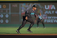 Charlotte Knights second baseman Yoan Moncada (10) on defense against the Norfolk Tides at BB&T BallPark on May 2, 2017 in Charlotte, North Carolina.  The Knights defeated the Tides 8-3.  (Brian Westerholt/Four Seam Images)