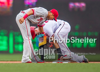 28 April 2016: Philadelphia Phillies second baseman Cesar Hernandez is unable to get Washington Nationals outfielder Bryce Harper out at second, as Harper steals his 5th base of the season at Nationals Park in Washington, DC. The Phillies shut out the Nationals 3-0 to sweep their mid-week, 3-game series. Mandatory Credit: Ed Wolfstein Photo *** RAW (NEF) Image File Available ***