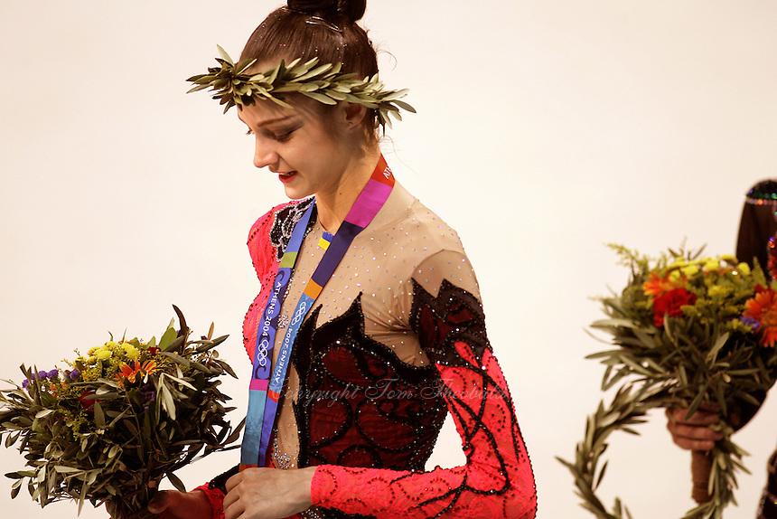 August 29, 2004; Athens, Greece; Rhythmic gymnastics star ANNA BESSONOVA of Ukraine wins bronze in All-Around at 2004 Athens Olympics.<br /> (&copy;) Copyright 2004 Tom Theobald