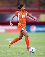 Jasmine Paterson (15) of Miami brings the ball upfield during the game at Ludwig Field in College Park, MD.  Maryland defeated Miami, 2-1, in overtime.
