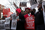 Fast food workers shout slogans for strike while they protest for Increased their wages in New York, April 04, 2013. Photo by Eduardo Munoz Alvarez / VIEWpress.