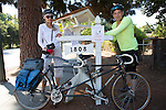 Ellen Barker and Tom Shoup of Los Altos arrive at Tom Bartons Farm chicken coop during the 2nd Annual Silicon Valley Tour de Coop.