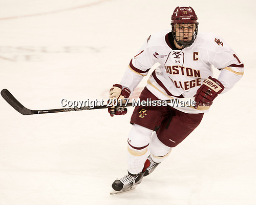 Chris Calnan (BC - 11) - The visiting Boston University Terriers defeated the Boston College Eagles 3-0 on Monday, January 16, 2017, at Kelley Rink in Conte Forum in Chestnut Hill, Massachusetts.
