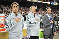 From left to right Assistant Coach Josh Wolff Assistant Coach Chad Ashton and Head Coach Ben Olsen of D.C. United during the signing of the National Anthem, D.C. United defeated Real Salt Lake 1-0 in their home opener, at RFK Stadium, Saturday March 9,2013.
