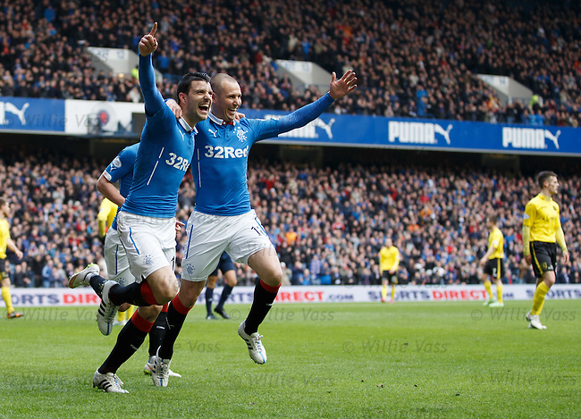 Haris Vuckic celebrates his goal with Kenny Miller