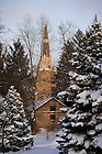 Basilica and Log Chapel in winter