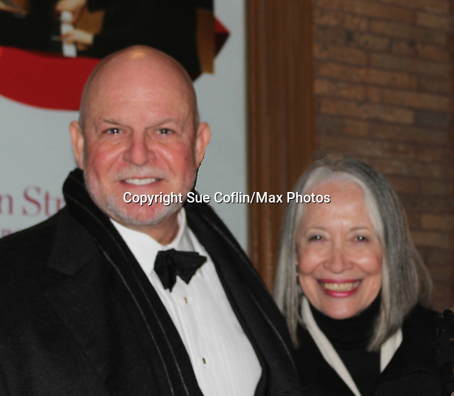 """Guiding Light's Ron Raines """"Alan Spaulding"""" poses with his wife Dona as he along with fellow singers highlighted the evening with song honoring Stephen Sondheim - A Gala Evening to support New York Festival of Song on April 19, 2017 at Carnegie Hall's Weill Recital Hall. (Photo by Sue Coflin/Max Photos)"""