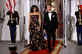 United States President Barack Obama, right, and First Lady Michelle Obama, left, prepare to greet Prime Minister Justin Trudeau and Mrs. Sophie Gr&eacute;goire Trudeau of Canada on the North Portico of the White House March 10, 2016 in Washington,D.C. <br /> Credit: Olivier Douliery / Pool via CNP