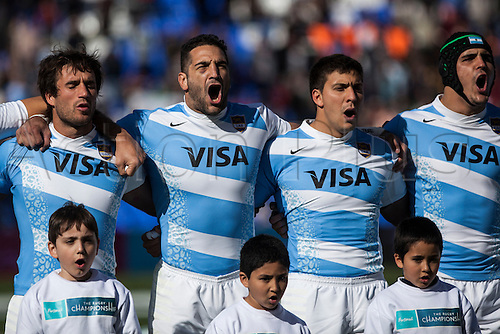 24.08.2013 Mendoza, Argentina. Players stand for the national Anthems  during the  rugby championship fixture between Argentina and S.A. Estadio Malvinas Argentinas.