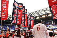 The Colorado Rapids and New York Red Bulls enter the field. The New York Red Bulls defeated the Colorado Rapids 4-1 during a Major League Soccer (MLS) match at Red Bull Arena in Harrison, NJ, on March 25, 2012.