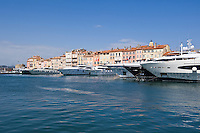 Large yachts moored in harbour, Saint Tropez, France