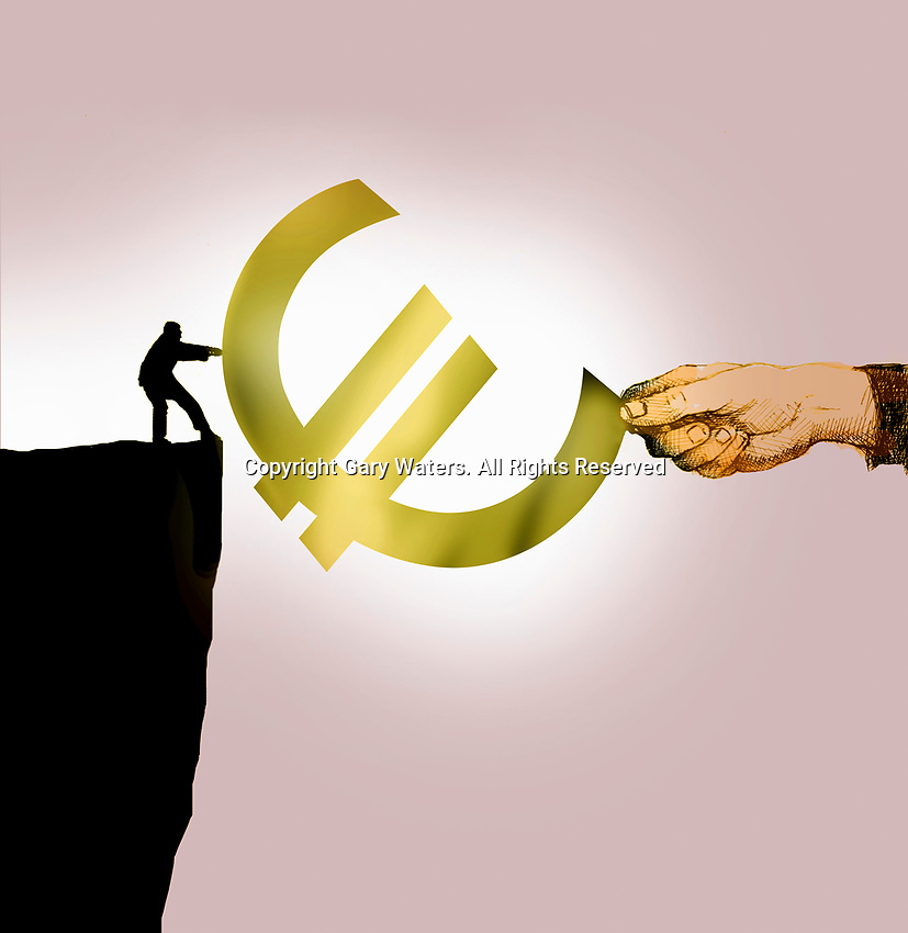 Small man on top of cliff in tug of war with large hand over euro sign