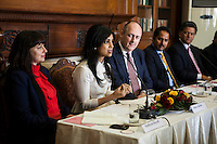 (L-R) Kathryn Deyell (DFAT), Pallavi Sharda (OzFest ambassador), Dr. Lachlan Strahan (Australian Deputy High Commissioner to India), Maharaj Narendra Singh (Maharaj of Jaipur), and Nik Senapati (Rio Tinto Managing Director) sit together as Pallavi Sharda speaks during a press conference on Oz Fest in Raj Mahal Palace hotel, Jaipur, India on 10th January 2013. Photo by Suzanne Lee/DFAT