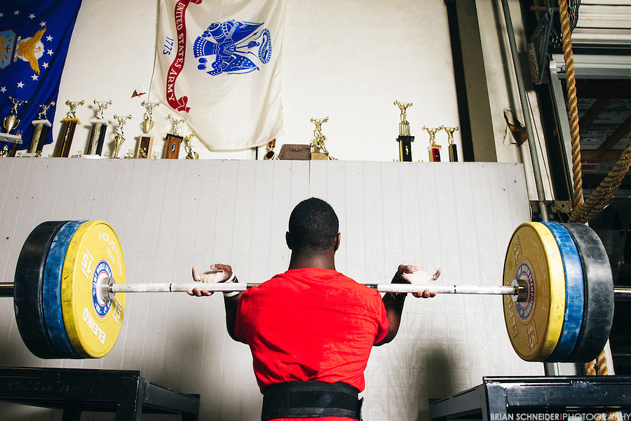 CJ Cummings performing a front squat during a training session in Beaufort, SC.