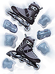 Inline skates, rollerblades and protective gear accessories, artistic dynamic still life sith motion blur isolated on white background