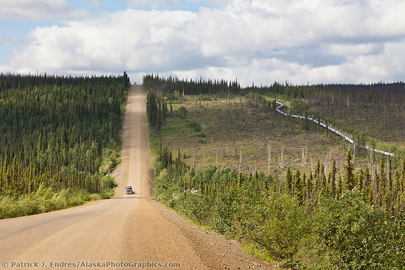 "Unpaved section of the James Dalton Highway, ""The Haul Road"" arctic, Alaska."