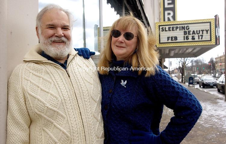 TORRINGTON, CT. 06 February 2013-020613SV05-Matthew Valenti and his wife, Barbara Valenti stand in front of the Warner Theatre in Torrington Wednesday..Steven Valenti Republican-American