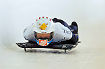 18 November 2005: Katie Koczynski of the USA slides down the track to take 14th place at the 2005 FIBT World Cup Women's Skeleton competition at the Verizon Sports Complex, in Lake Placid, NY. Mandatory Photo Credit: Ed Wolfstein.