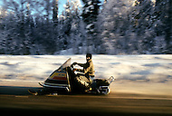 Talkeetna Area, Alaska, U.S.A, January 1989. A sudden cold wave struck Alaska resulting to the temperature falling under 50 degrees Centigrade (58 degrees Fahrenheit). People traveling with show mobiles.