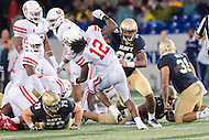Annapolis, MD - OCT 8, 2016: Navy Midshipmen wide receiver Terrence Laster (80) blocks Houston Cougars linebacker D'Juan Hines (12) during game between Houston and Navy at Navy-Marine Corps Memorial Stadium Annapolis, MD. The Midshipmen upset #6 Houston 46-40. (Photo by Phil Peters/Media Images International)