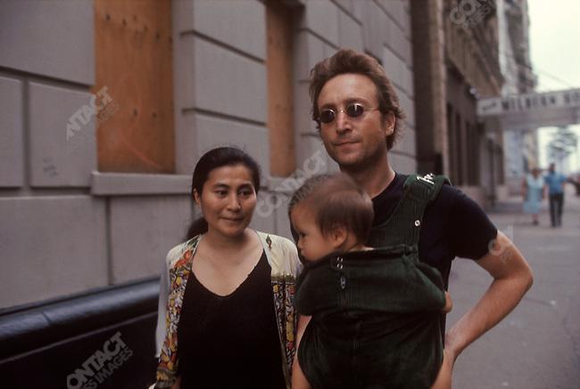 John Lennon, Yoko Ono and Sean Lennon near their apartment on the Upper West Side, New York City, August 1976.