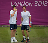 Andy & Jamie Murray - Great Britain..Tennis - OLympic Games -Olympic Tennis -  London 2012 -  Wimbledon - AELTC - The All England Club - London - Saturday 28th June  2012. .© AMN Images, 30, Cleveland Street, London, W1T 4JD.Tel - +44 20 7907 6387.mfrey@advantagemedianet.com.www.amnimages.photoshelter.com.www.advantagemedianet.com.www.tennishead.net