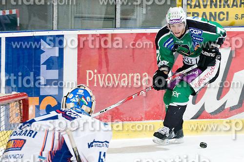 Domen Vedlin (HDD Tilia Olimpija, #7) during ice-hockey match between HDD Tilia Olimpija and SAPA Fehervar AV19 in 27th Round of EBEL league, on December 12, 2010 at Hala Tivoli, Ljubljana, Slovenia. (Photo By Matic Klansek Velej / Sportida.com)