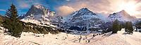 Alpine slopes  looking towards the Wetterhorn (left). Swiss Alps, Switzerland