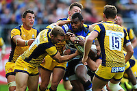 Semesa Rokoduguni of Bath Rugby muscles his way through the Worcester Warriors defence. Aviva Premiership match, between Bath Rugby and Worcester Warriors on September 17, 2016 at the Recreation Ground in Bath, England. Photo by: Patrick Khachfe / Onside Images