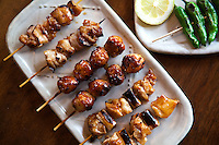 Yakitori, literally grilled bird, is a Japanese type of kebab made from several bite-sized pieces of chicken meat skewered on a bamboo stick and barbecued, usually over charcoal. Diners ordering yakitori usually have a choice of having it served with simply salt or miso paste. The sauce is applied on the skewered meat and is grilled until delicately cooked. Yakitori is a very popular dish in Japan, many working people grab a yakitori and a beer from yakitori stalls on the way home from work with a beer.