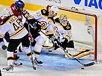 22 April 2009: Boston Bruins' defenseman and Team Captain Zdeno Chara from the Slovak Republic clears the puck from his crease keeping the Canadiens from scoring in the second period at the Bell Centre in Montreal, Quebec, Canada. The Canadiens, entering the contest down three games to none, were eliminated from Stanley Cup competition with the 4-1 loss and series sweep by the Division winning Bruins. ***** Editorial Sales Only ***** Mandatory Credit: Ed Wolfstein Photo