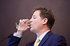 Nick Clegg MP <br /> former leader of the LibDems<br /> speech at the National Liberal Club, London, Great Britain <br /> 2nd May 2017 <br /> <br /> General Election 2017 rally speech <br /> Nick Clegg MP <br /> drinks some water <br /> <br /> <br /> <br /> Photograph by Elliott Franks <br /> Image licensed to Elliott Franks Photography Services