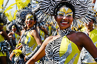 Colombian girls, wearing colorful costumes and make-ups, dance during the Carnival in Barranquilla, Colombia, 27 February 2006. The Carnival of Barranquilla is a unique festivity which takes place every year during February or March on the Caribbean coast of Colombia. A colourful mixture of the ancient African tribal dances and the Spanish music influence - cumbia, porro, mapale, puya, congo among others - hit for five days nearly all central streets of Barranquilla. Those traditions kept for centuries by Black African slaves have had the great impact on Colombian culture and Colombian society. In November 2003 the Carnival of Barranquilla was proclaimed as the Masterpiece of the Oral and Intangible Heritage of Humanity by UNESCO.