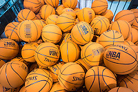 """Miniature NBA branded Spalding rubber balls """"Spaldeens"""" on display in the new Dick's Sporting Goods store in Valley Stream, Long Island, New York on Saturday, July 9, 2016. Dick's recently purchased the intellectual property of its bankrupt competitor Sports Authority with a $15 million bid pending the courts' final approval on July 15.   (© Richard B. Levine)"""
