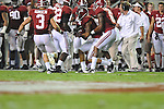 Ole Miss vs. Alabama defensive back Dee Milliner (28) makes an interception at Bryant-Denny Stadium in Tuscaloosa, Ala. on Saturday, September 29, 2012.