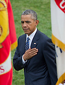 United States President Barack Obama reviews the troops during an official State Arrival ceremony honoring President XI Jinping of China  on the South Lawn of the White House in Washington, DC on Friday, September 25, 2015.<br /> Credit: Ron Sachs / CNP