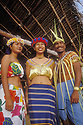 "Saipan, Northern Marianas Islands, Micronesia: dancers in traditional Carolinian dress at ""Chamorro Beach Party"" dinner show at Hyatt Hotel."
